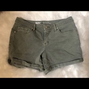 Mossimo Mid-Rise Olive Green Rolled-Hem Shorts